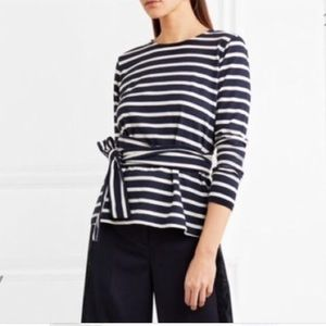 J. Crew Navy Striped Belted Waist Tie Top Sz Small